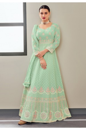 Sea green georgette embroidered long anarkali suit 116