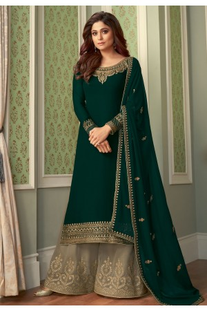 Shamita shetty green georgette palazzo suit 8421