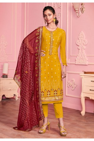 Yellow georgette kameez with pant 2015