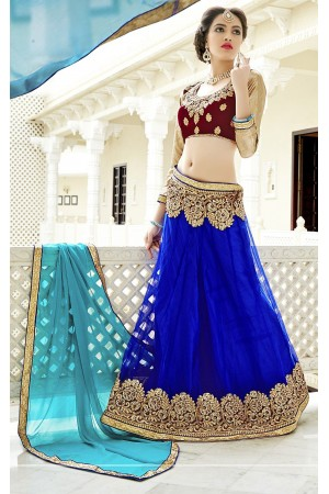 Party Wear Blue Maroon Green Color Lehenga 7219