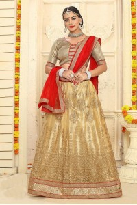 Party Wear Gold Red Lehenga 7332
