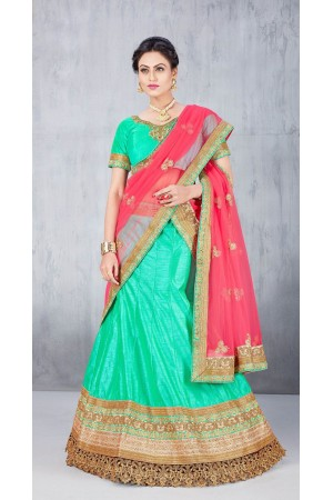 Party Wear Green Lehenga 134