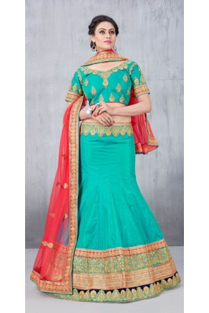 Party Wear Green Lehenga 142