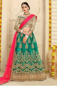 Party Wear Green Pink Lehenga 7336