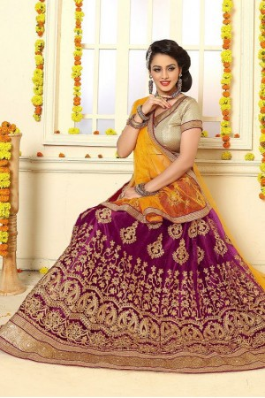 Party Wear Maroon Orange Lehenga 7331