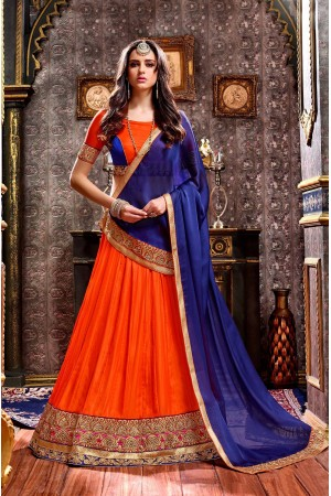 Party Wear Orange Blue Lehenga 2001