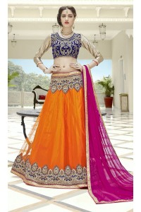 Party Wear Orange Blue Pink Color Lehenga 7216