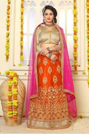 Party Wear Orange Gold Lehenga 7333
