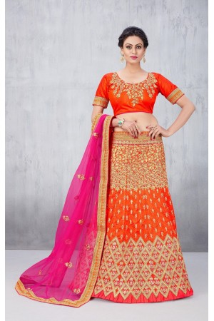 Party Wear Orange Lehenga 132