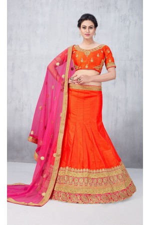 Party Wear Orange Lehenga 139