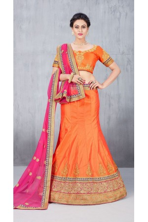 Party Wear Orange Lehenga 141