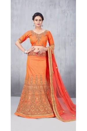 Party Wear Orange Lehenga 158