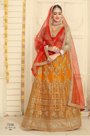 Party Wear Orange Red Lehenga 7337