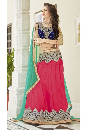 Party Wear Peach Blue Green Color Lehenga 7215