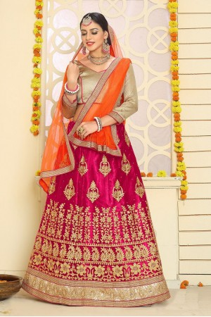 Party Wear Pink Orange Lehenga 7335