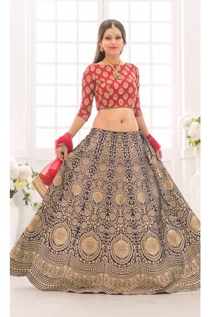Party Wear Pure Silk Blue Red Lehenga k101