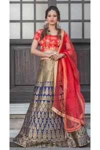 Party Wear Pure Silk Blue Red Lehenga k108