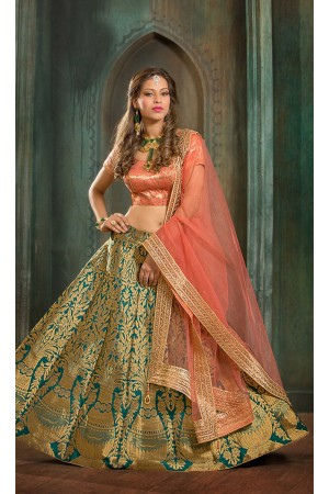 Party Wear Pure Silk Green Peach Lehenga k104