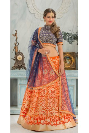 Party Wear Pure Silk Orange Blue Lehenga k102