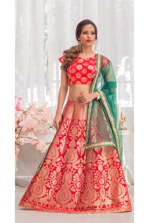 Party Wear Pure Silk Rani Pink Green Lehenga k106