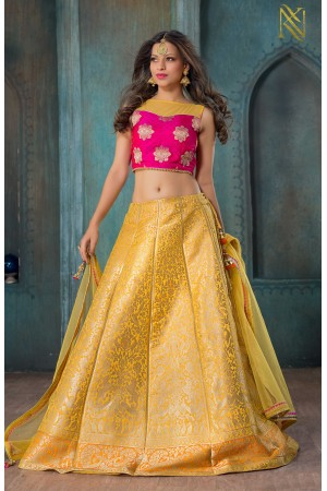 Party Wear Pure Silk Yellow Pink Lehenga k103