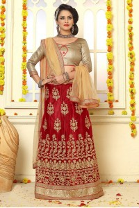 Party Wear Red Biege Lehenga 7338