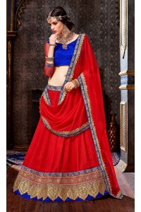 Party Wear Red Blue Lehenga 2005