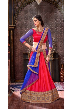 Party Wear Red Blue Lehenga 2007
