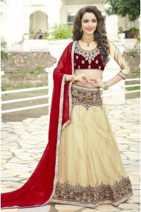 Party Wear Red Maroon Biege Color Lehenga 7211