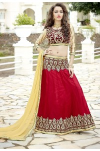 Party Wear Red Maroon Biege Color Lehenga 7218