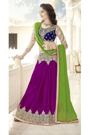 Party Wear Violet Blue Green Color Lehenga 7214