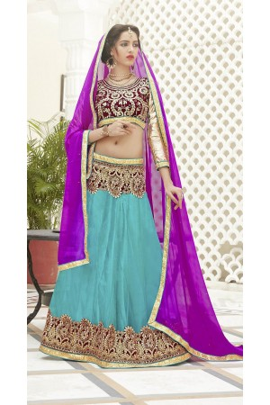 Party Wear Violet Sea Blue Color Lehenga 7212