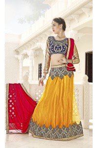 Party Wear Yellow Blue Color Lehenga 7213
