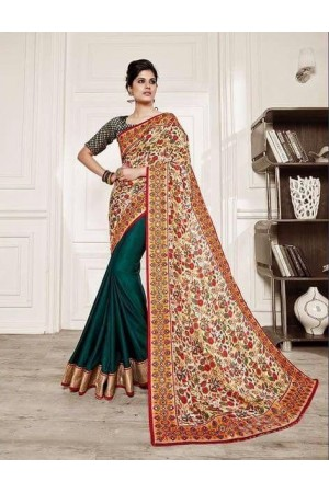Bottle green and beirge fancy casual  wear saree