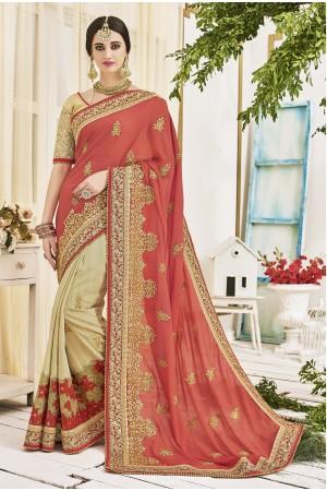 Cream and peach georgette and jackuard art silk wedding wear saree