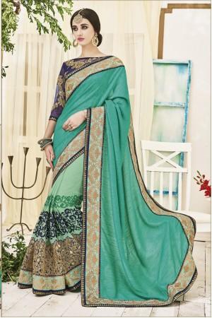Green color art silk georgette wedding wear saree
