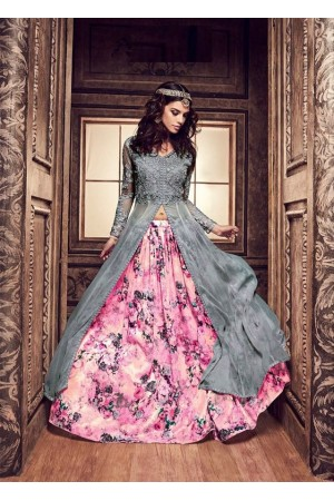 Grey and pink color pure silk floral lehenga style party wear kameez