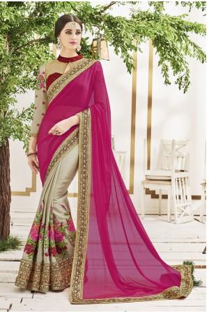 Grey and rani color chiffon and moss crepe wedding wear saree