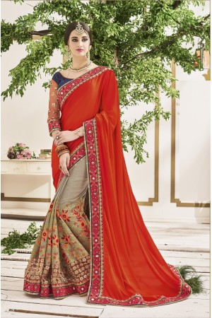Grey and red crepe chiffon wedding wear saree
