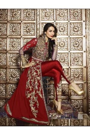 Malaika Arora Khan Resham Work Red Designer Suit