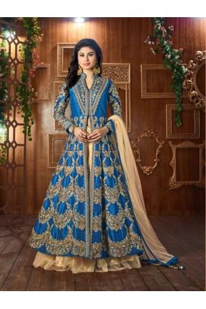 Mouni Roy Blue Tapeta silk wedding wear lehenga style kameez