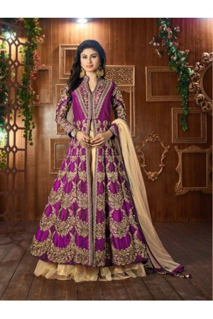 Mouni Roy purpleTapeta silk wedding wear lehenga style kameez