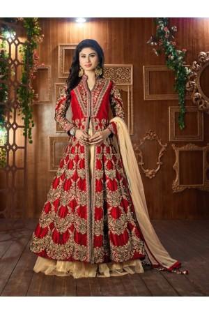 Mouni Roy Red Tapeta silk wedding wear lehenga style kameez