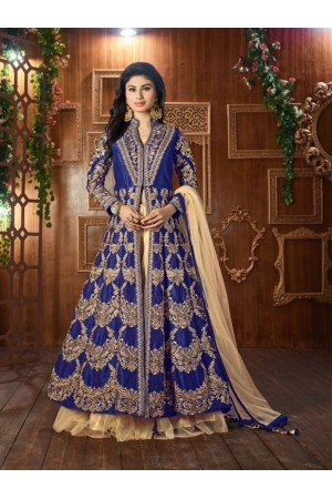 Mouni Roy Royal Blue Tapeta silk wedding wear lehenga style kameez