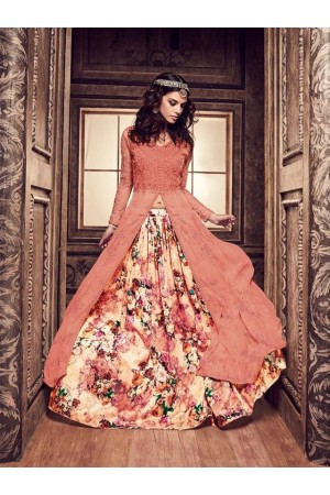 Peach and cream color pure silk floral lehenga style party wear kameez