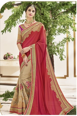 Pink and beige chiffon and crepe georgette wedding wear saree