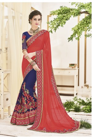 Pink and blue chiffon and georgette wedding wear saree