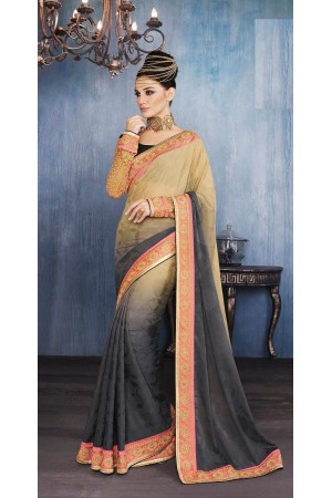 Party-wear-Beige-Charcoal-color-saree