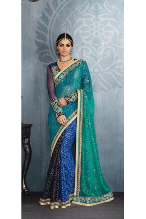 Party-wear-Blue-Pink-Green-color-saree