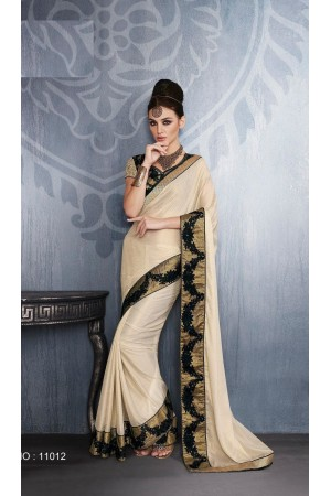 Party-wear-Chikoo-color-saree